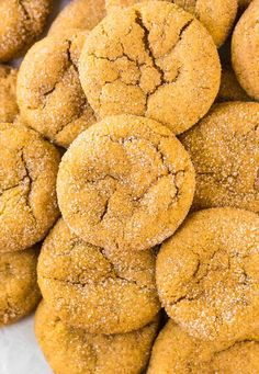 Pumpkin Snickerdoodles. A buttery, soft, and chewy snickerdoodle cookie made with pumpkin puree and cozy fall spices. DELICIOUS, and just 100 calories each!