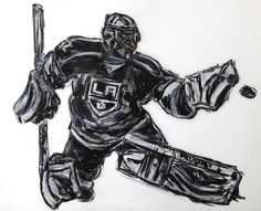 A painting of LA Kings goalie Jonathan Quick by sports artist, John Robertson...see his blog, John Robertson Sports Art here!