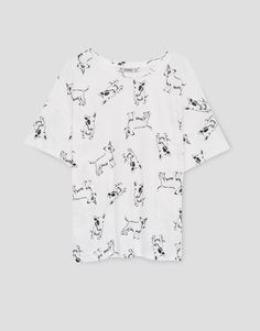 Dogs all over T-shirt - T-shirts - Clothing - Woman - PULL&BEAR United Kingdom