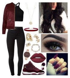 """""""Burgundy Bomber"""" by leilani14 ❤ liked on Polyvore featuring J Brand, River Island, Lime Crime, Accessorize, Olivia Burton, Humble Chic, Annick Goutal, Lisa Eisner, Topshop and Marchesa"""