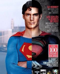 Superman Split - Christopher Reeve compared and Henry Cavill. both r cute