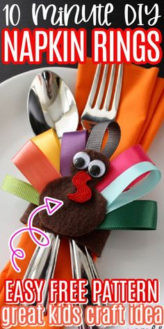 Thanksgiving Ribbon Turkey Place Setting and Hair Clip great kids craft perfect for the holidays via @raegun
