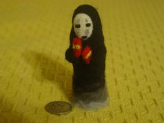 Needle Felted No-Face Kaonshi Spirited Away Fan Art by HorriblyPrecious on Etsy