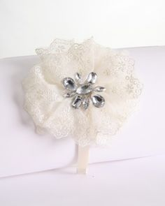 Ivory Lace Flower Headband with Crystal Stones for Girls