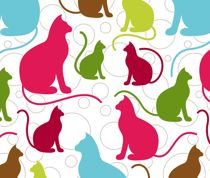 colorful cat fabric   #colors #animals #cute #kids