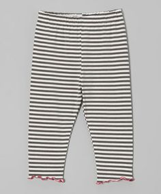 Take a look at this Gray & Cream Stripe Lettuce-Edge Capri Pants - Toddler & Girls by SILLY MILLY on #zulily today!