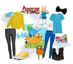 Adventure Time Inspired Outfits super cute and adorable Finn and Jake casual clothing outfits!!!!! I love it I'll always feel like them while wearing these outfits!!!!!!!!!!! Adventure Time!!!!!!!!!!!!!!!!!!!!!!!!!!!!