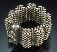 """""""Sterling Accordion"""" Bracelet, 2006  Sterling silver beads and clasp. 3 3/4"""" w. x 1 3/4"""" h. Collection of Irene Austin  © Valerie Hector 2006"""