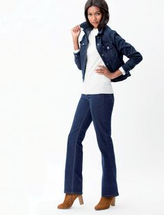 The bootleg jean:- Don't go too baggy at the top . Bootleg Jeans, Denim, Tops, Jeans