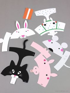 FREE printable Animal Finger Puppets for kids ( horse, mouse, cat, bunny, pig)… Projects For Kids, Diy For Kids, Crafts For Kids, Paper Puppets, Paper Toys, Mr Printables, Paper Art, Paper Crafts, Puppets For Kids