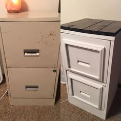 Filing cabinet makeover. Waverly chalk paint from Walmart. Waverly wax sealer from Walmart. 1x4 board from hardware store meausured and cut into 4 pieces and stained dark walnut then cement glued on top. Oh and 2 .50 cent frames from the goodwill cement glued on drawers before painting. #ottomanmakeoverideas