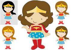 Wonder Woman Baby in Different Styles Clipart. - Oh My Fiesta! for Geeks Wonder Woman Birthday, Wonder Woman Party, Free Birthday Invitations, Free Printable Invitations, Superman Party, Superhero Party, Batgirl, Batman Free, Baby Avengers