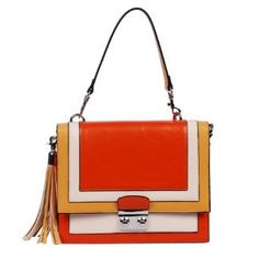 Box Shaped Color Block Tote Satchel Handbag Purse, Orange,