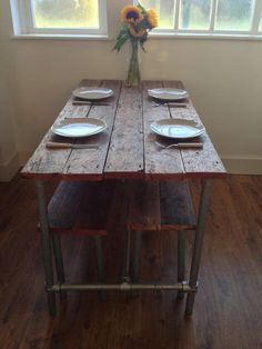 Authentic Farm House Dining Table  2 Benches by LodgetoLoft