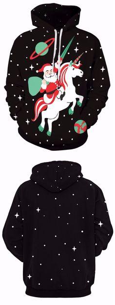 Christmas Santa Claus Star Unicorn Hoodie