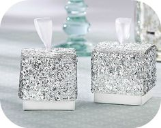 Silver Glitter Favor Boxes (Set of 24)