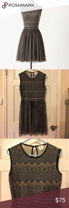 """Anthro Dulcie Tulle Weston Wear Sweater Feminine L Beautiful feminine Weston Wear dress from Anthropologie. It has a beautiful delicately knit sweater bodice with a tulle skirt and Keyhole back. 38"""" long with a 32"""" waist that has a drawstring for adjustments. Black/cream color scheme. Retailed for $158. Great condition, looks barely worn!  👆🏻Offers welcome, but please use the offer button and not comments. Anthropologie Dresses"""