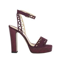BIONDA CASTANA FW15 - ZOE Zoe makes her first appearance in the label's Pre Fall '15 collection. This purple calf suede with purple elaphe heel and platform style has a geometric laser cut front strap and ankle strap detail. The sturdy platform and block heel are a real nod to the 70's - despite a weighty appearance this pair is surprisingly light.