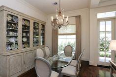 Dining area with beautiful walnut floors.