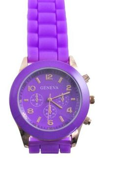 Unisex Silicone Gel Ceramic Style Jelly Band Classic Watch Purple Geneva. $6.99
