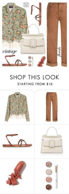 """Vintage florals"" by jan31 ❤ liked on Polyvore featuring The Kooples, Brunello Cucinelli, Etro, Boyy, LAQA & Co., Terre Mère, Folio, vintage, boyfriendjeans and floralblouses"