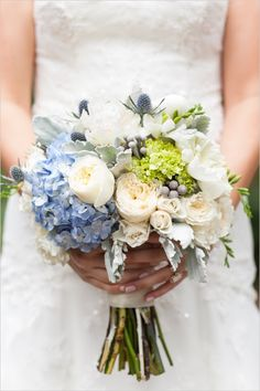 Super pretty white and blue bouquet captured by Samantha Laffoon Photography! #wchappyhour #weddingchicks http://www.weddingchicks.com/2014/08/28/samantha-laffoon-photography/