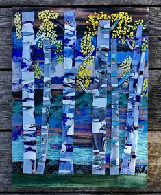 #mixedmedia #mosaic #birch #trees by the river #vintagechina #japanesepaper by @22mosaics