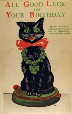 Vintage Postcard. Did you know that black cats are considered lucky in England?