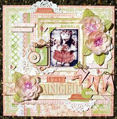 @Tara Orr's beautiful Little Darlins LO. Love the details and that banner on the right side! Such lovely colors! #graphic45 #layouts