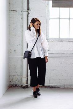 Black culottes, white crispy shirt, platform shoes, Gucci Soho Disco Black Culottes, Gucci Soho Disco, Platform Shoes, Normcore, Pants, Shirts, Outfits, Style, Fashion