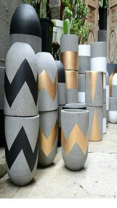 Our very first delivery of lightweight concrete pots have arrived. They are all amazing! Available in a range of sizes &… Concrete Pots, Concrete Design, Concrete Planters, Diy Planters, Concrete Crafts, Concrete Projects, Painted Pots, Painted Flower Pots, Concrete Furniture