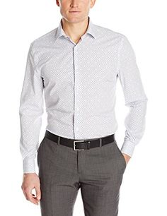 Perry Ellis Men's Long Sleeve Mini Geo Print Non Iron Shirt