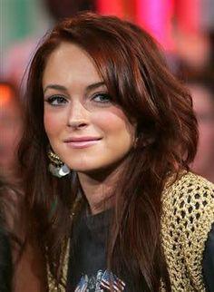 Lindsey Lohan, nice red/brown hair color.