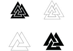 """4 plain Valknut symbol vector files. 2 unicursal, 2 non-unicursal symbol vector files. The Valknut (Old Norse valr, """"slain warriors"""" + knut, """"knot"""") is a symbol consisting of three interlocked triangles, and appears on various Germanic objects. A number of theories have been proposed for its significance. -Wikipedia These symbol vector files are great for a quick grab for Old Norse/Viking inspired tattoos, jewelry designs, etc."""
