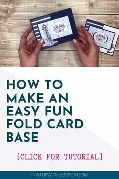 Card Ideas Discover How To Make An Easy Fun Fold Card Base [Video Tutorial] Want to make fun fold cards but think they are too complicated?This is the EASIEST Fun Fold Card Base EVER! Samples made with the Come Sail Away Suite from Stampin Up! Card Making Templates, Card Making Tips, Card Making Tutorials, Card Making Techniques, Video Tutorials, Making Cards, Templates Free, Fun Fold Cards, Folded Cards