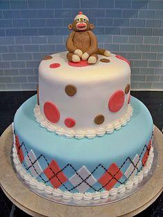crazy cute sock monkey cake!