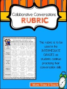 This rubric was created to complement my Collaborative Conversations FREEBIE {Rules and Recording Sheet}This kid friendly rubric can be used to monitor students progress with collaborative conversations/ accountable talk.I hope you enjoy!:0) Melissa