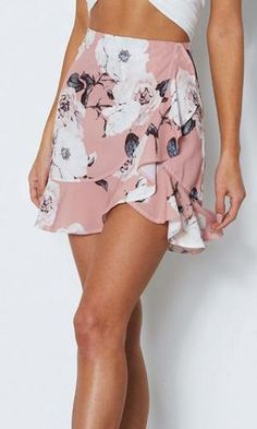 Floral Wishes Pink Flower Pattern Cross Wrap Ruffle Casual A-line Mini Skirt - Sold Out - Clothes - Long Skirt And Top, A Line Mini Skirt, Cute Casual Outfits, Casual Dresses, Prom Dresses, Casual Clothes, Wedding Dresses, Cute Skirts, Mini Skirts