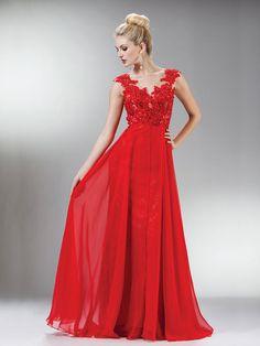 A-line V-neck Chiffon Lace Prom Dresses/Evening Dresses #BK529
