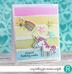 Card by Amy Kolling. Reverse Confetti stamp set and coordinating Confetti Cuts: Unicorn Wishes. Birthday card. Unicorns.