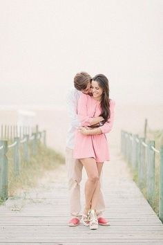 Fun engagement photos by the beach. #wedding #engagement #photos