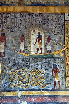 Mural painting, solar barge, tomb of Ramses I, tomb number KV 16, grave, Valley of Kings, West-Thebes, Luxor, Egypt