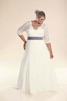 Plus size lace wedding dress with sleeves the Rosie