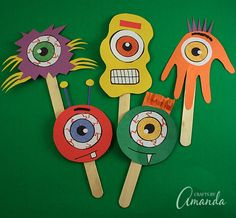 Use craft sticks and construction paper to make puppets for their show.