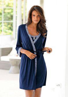 marie claire - Nachthemd & Kimono in Nachtblau mit Saum in Ornamentprint