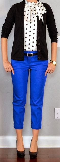 Teacher Outfit: Polka-dot tie neck blouse, black cardigan, blue cropped pant with black pumps. #fashion