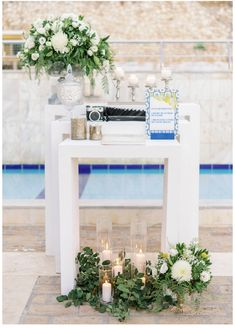 #kefalonia #guestbook #polaroid #candles #whiteflowers #candytable Candy Table, Guestbook, White Flowers, Your Favorite, Polaroid, Reception, Wedding Day, Candles, Table Decorations