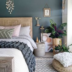 What a stunning bedroom by using 🎨Inchyra Blue by 😍 Stunning! Green Master Bedroom, Blue Bedroom Decor, Bedroom Wall Colors, Bedroom Color Schemes, Room Ideas Bedroom, Home Bedroom, Blue Gray Bedroom, Best Colour For Bedroom, Cosy Bedroom Ideas For Couples