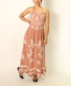 Look at this #zulilyfind! Beige Floral Maxi Dress - Women by Shoreline #zulilyfinds