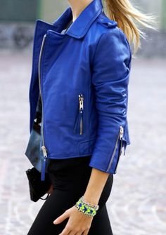 Cobalt blue leather jacket.